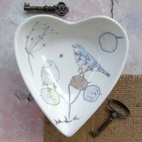 Heart Shaped Trinket Dish - Chaffinch Design.
