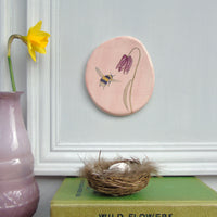 bee and fritillary ceramic plaque