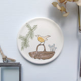 Decorative mini wall plate - songthrush on trug