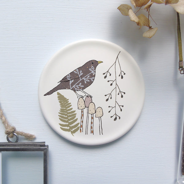 Blackbird on toadstool mini wall plate