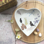 Heart trinket dish - Blackbird design