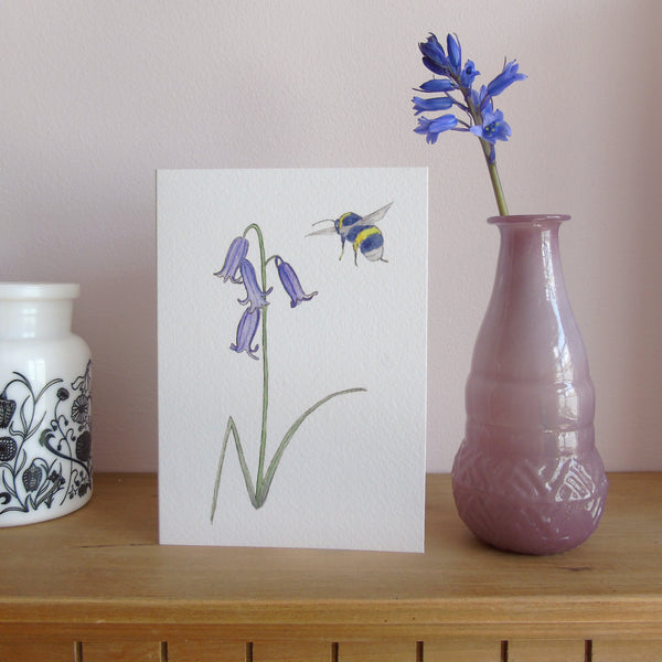 Bluebell and bee greetings card
