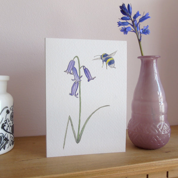 A6 Bluebell and Bee card