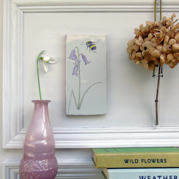 Bluebell and bee Ceramic Tile Wall Art