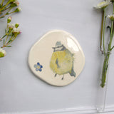 blue tit and forget me not ceramic plaque