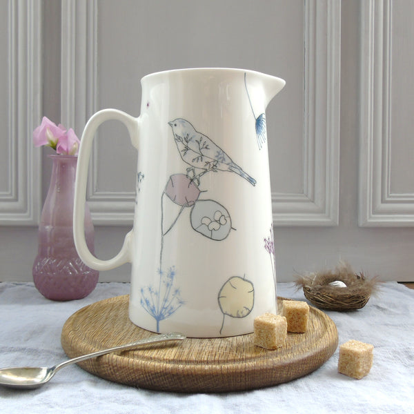 Garden bone china Bird Jug