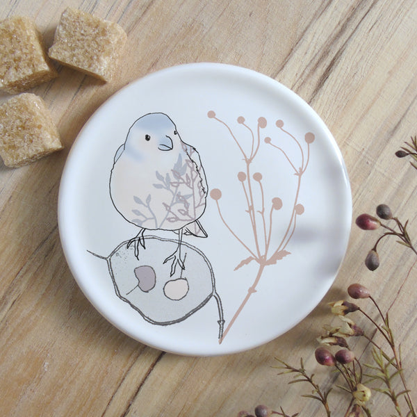 chaffinch and honesty coaster