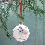 Crested tit Bone china Christmas bauble