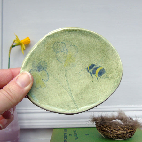 Bee and Violas ceramic wall plate