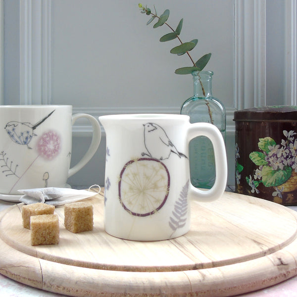 mini cream jug- long tailed-tit design