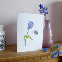 Forget me not and bee greetings card