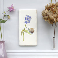 Snail and Forget me not Ceramic Tile Wall Art