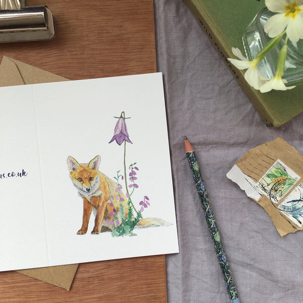 Fox and harebell greetings card