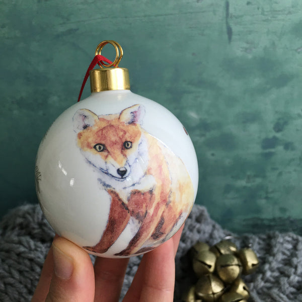 Fox Bone china Christmas bauble