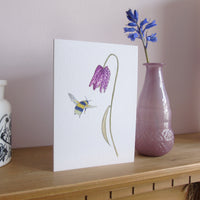 A6 Fritillary and Bee card