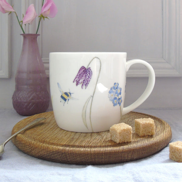 Bee and spring flowers bone china mug
