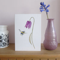 Fritillary and bee greetings card