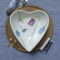spring flowers heart shaped jewellery dish