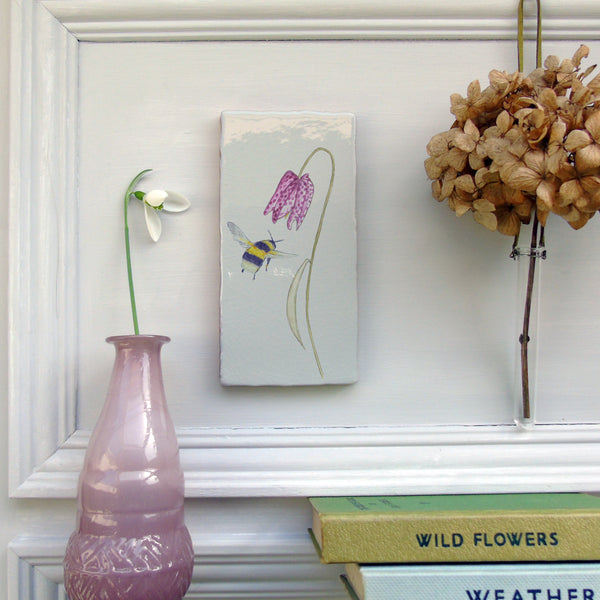 Bee and Snakeshead fritillary Ceramic Tile Wall Art