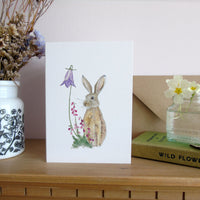 Hare and bell heather greetings card