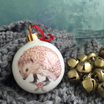 Bone china Christmas Bauble - hedgehog design