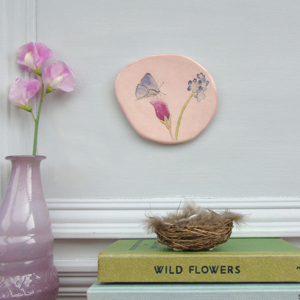 handmade ceramic pink butterfly plaque