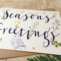 Season's Greetings dove christmas card