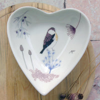 Heart trinket dish - bullfinch design