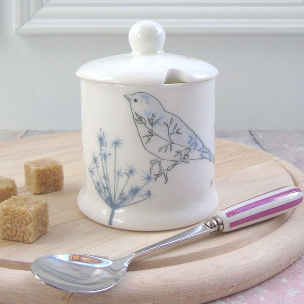 bone china sugar/jam pot - chafinch design