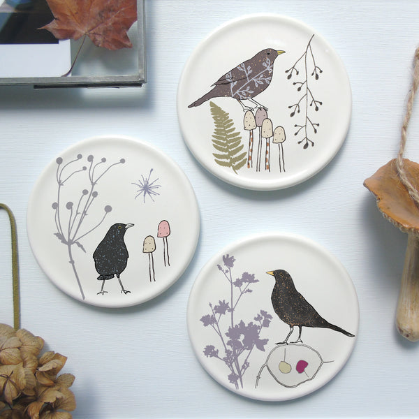 Botanical bird mini wall plates