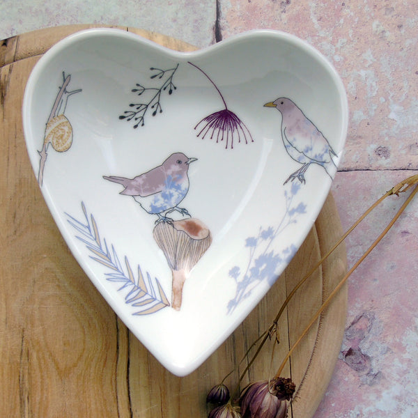 Heart trinket dish - blue blackbird design