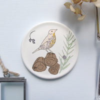 Decorative mini wall plate - songthrush design