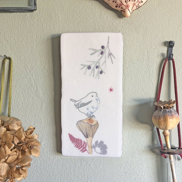 wren on toadstool design ceramic tile wall art