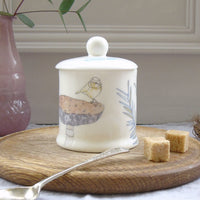 bone china suagr/jam pot - wren on toadstool design