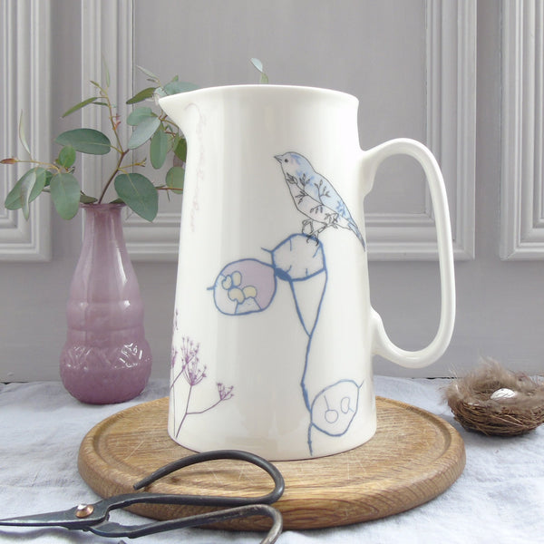 Garden Bird bone china Jug