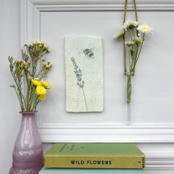 Handmade Lavender and Bee Wall art tile