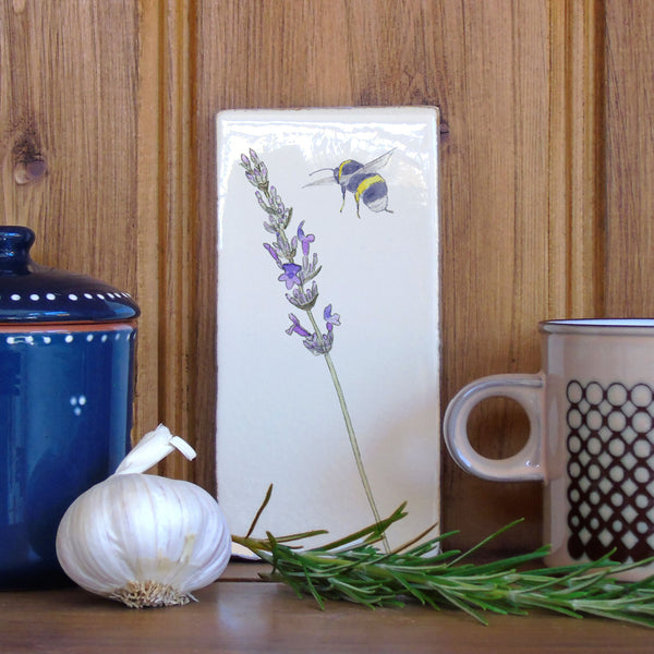 Lavender and Bee Ceramic Tile Wall Art