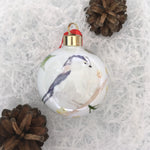 Long tailed-tit (upright) Bone china Christmas bauble