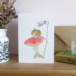 Fieldmouse on toadstool greetings card