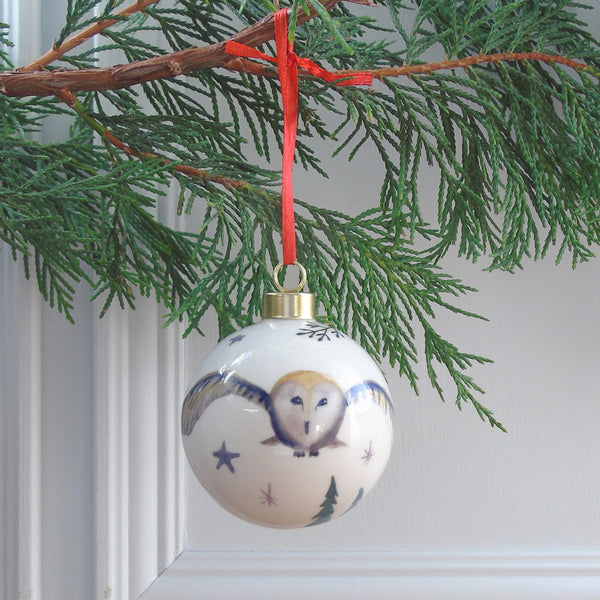 Barn owl Bone china Christmas bauble