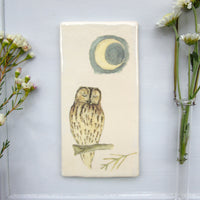 Handmade Tawny Owl and Moon Wall art tile