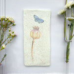 Handmade Poppy and Butterfly Wall art tile