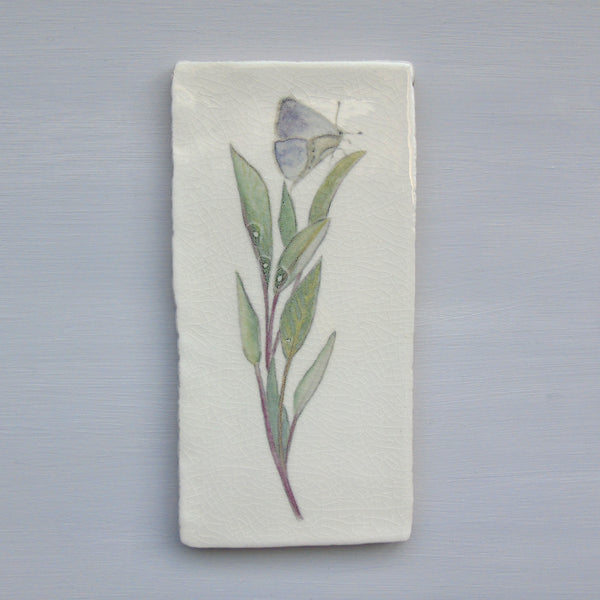 SECONDS Sage and butterfly Ceramic wall Art Tile