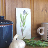 Sage and Butterfly Ceramic Tile Wall Art