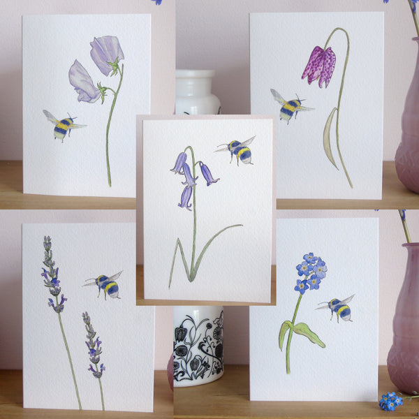 Set of five flower and bee greetings cards