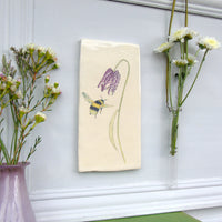 Handmade Snakeshead Fritillary and Bee Wall art tile