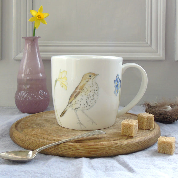 song thrush and spring flowers bone china mug
