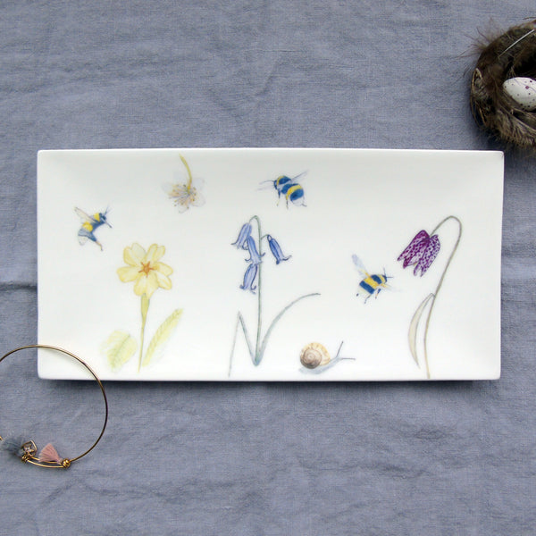 bone china bee and spring flowers trinket tray