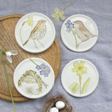 Spring coaster - song thrush and primrose