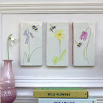 spring flower and bees ceramic tile Wall Art